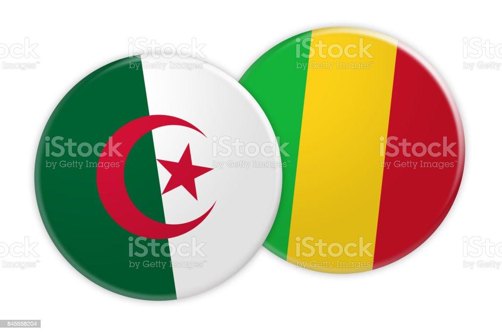 News Concept: Algeria Flag Button On Mali Flag Button, 3d illustration on white background stock photo