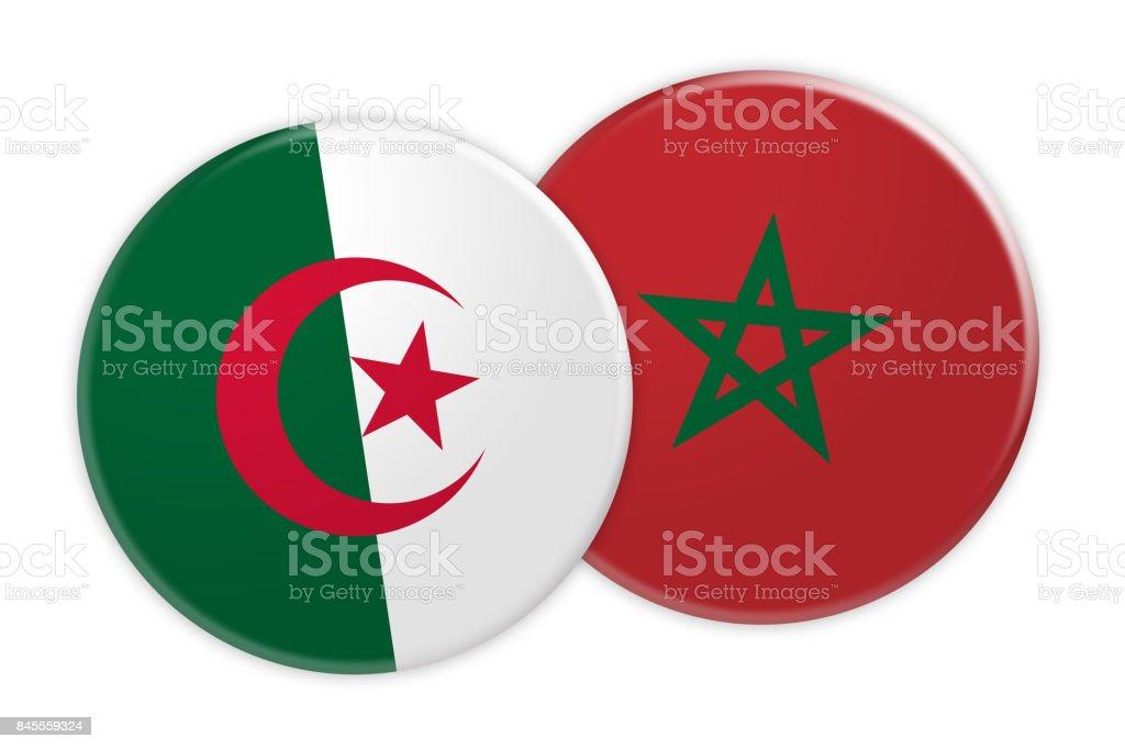 News Concept: Algeria Flag Button On Morocco Flag Button, 3d illustration on white background stock photo