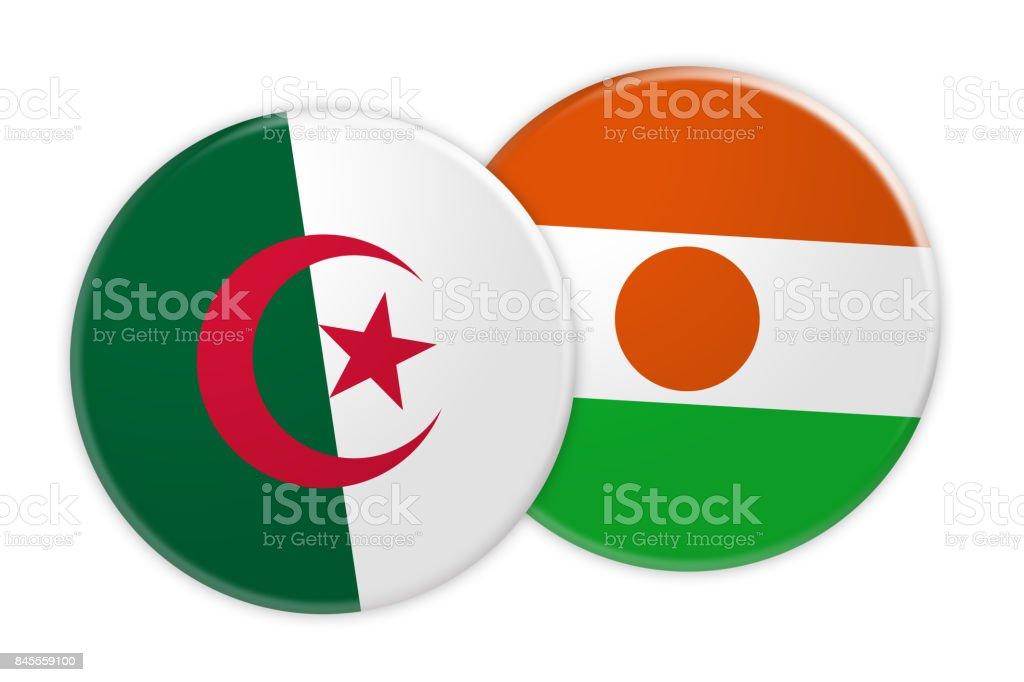 News Concept: Algeria Flag Button On Niger Flag Button, 3d illustration on white background stock photo