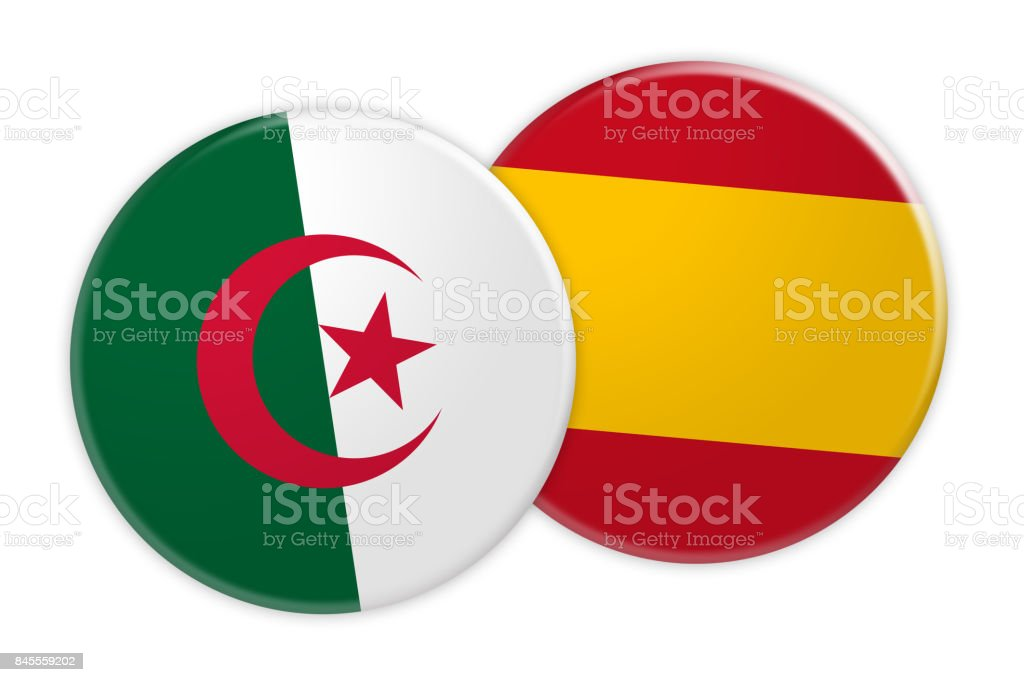 News Concept: Algeria Flag Button On Spain Flag Button, 3d illustration on white background stock photo