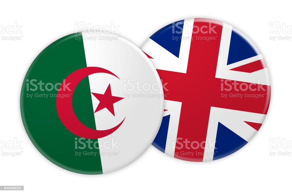 News Concept: Algeria Flag Button On UK Flag Button, 3d illustration on white background stock photo