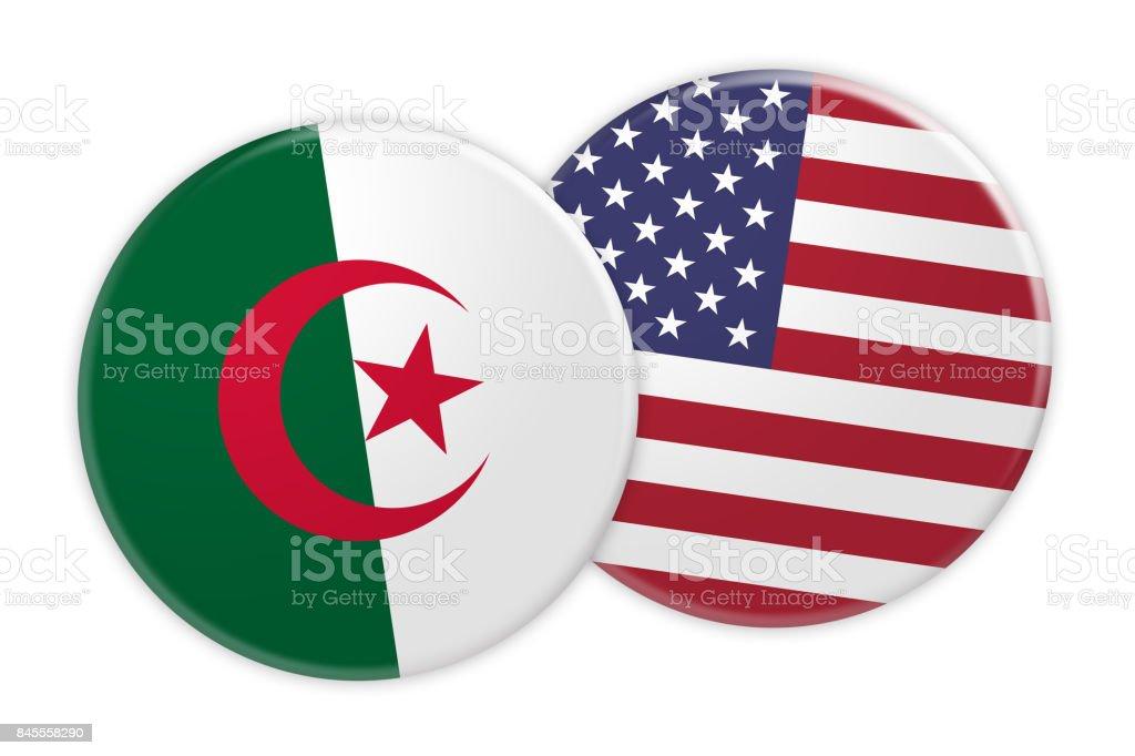 News Concept: Algeria Flag Button On US Flag Button, 3d illustration on white background stock photo