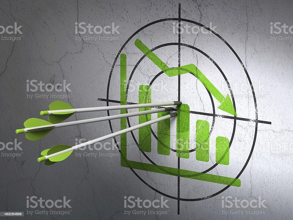 News concept: arrows in Decline Graph target on wall background stock photo