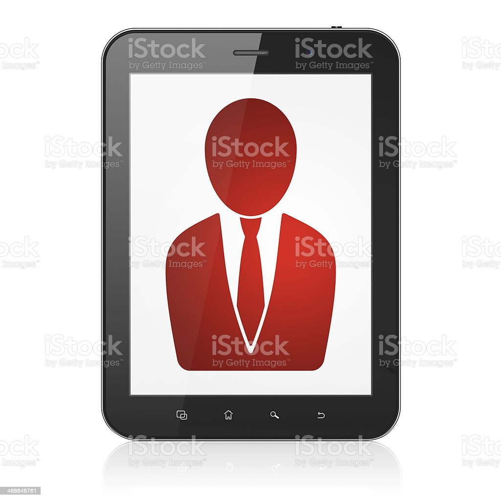 News concept: Business Man on tablet pc computer royalty-free stock photo