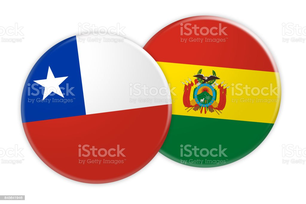 News Concept: Chile Flag Button On Bolivia Flag Button, 3d illustration on white background stock photo