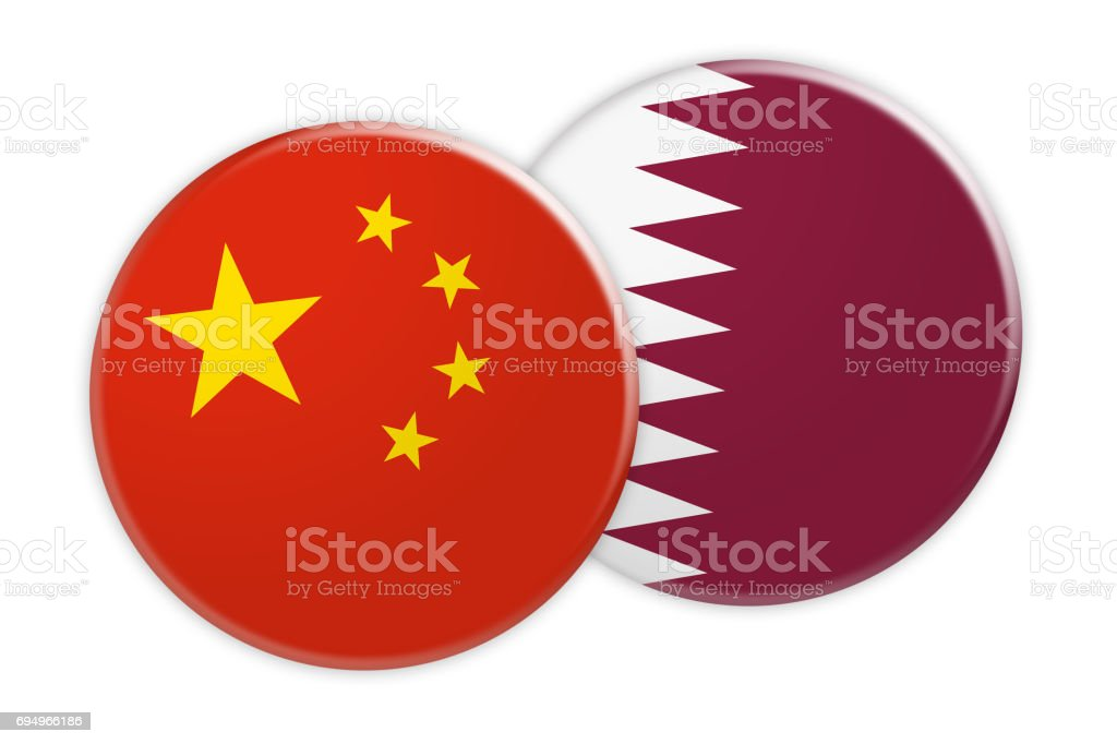 News Concept: China Flag Button On Qatar Flag Button, 3d illustration on white background stock photo