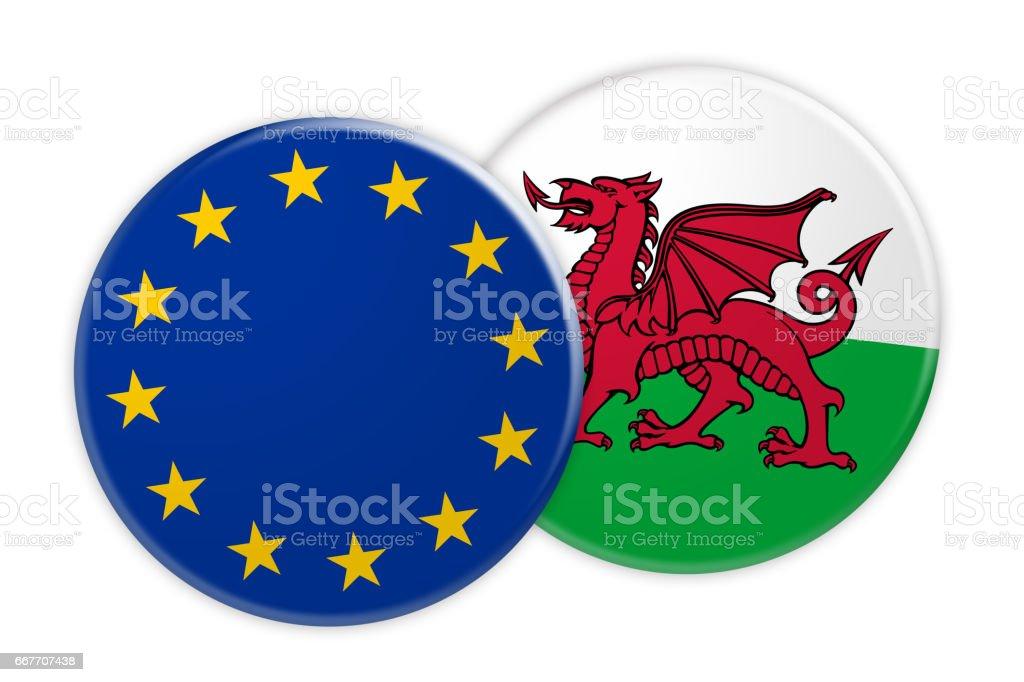 News Concept: EU Flag Button On Wales Flag Button, 3d illustration on white background stock photo