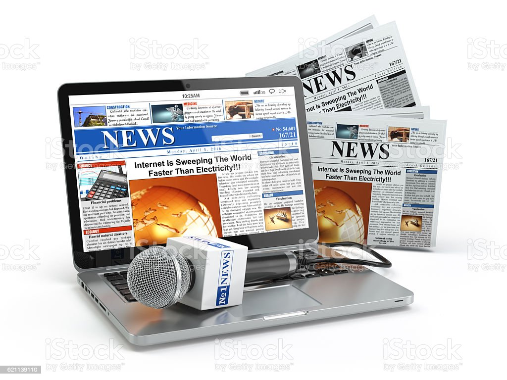 News concept. Laptop with microphone and newspaper isolated on w stock photo