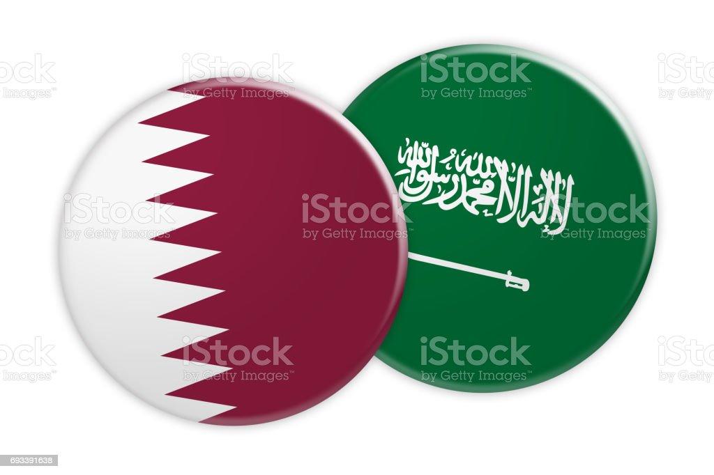 News Concept: Qatar Flag Button On Saudi Arabia Flag Button, 3d illustration on white background stock photo