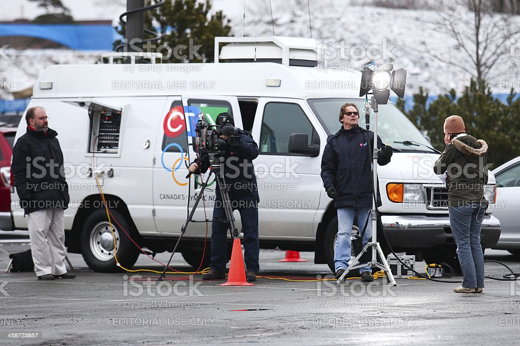 News Crew Broadcasting live on location royalty-free stock photo