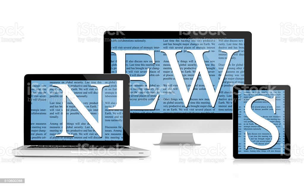 News feed on devices stock photo