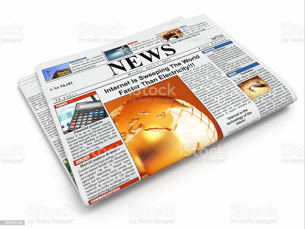 News. Folded newspaper on white isolated background royalty-free stock photo