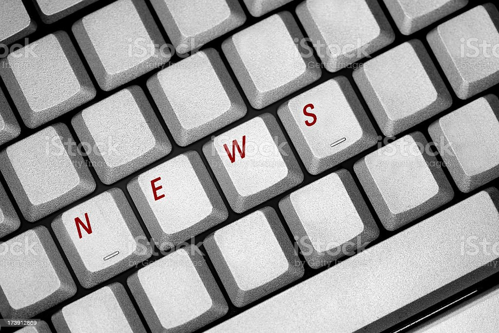 News in red on keyboard other letters removed royalty-free stock photo