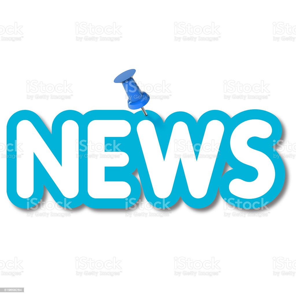 News label pinned to a plain white background stock photo