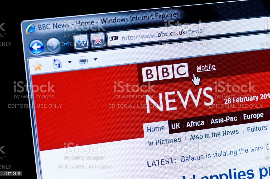 BBC News - Macro shot of real monitor screen stock photo