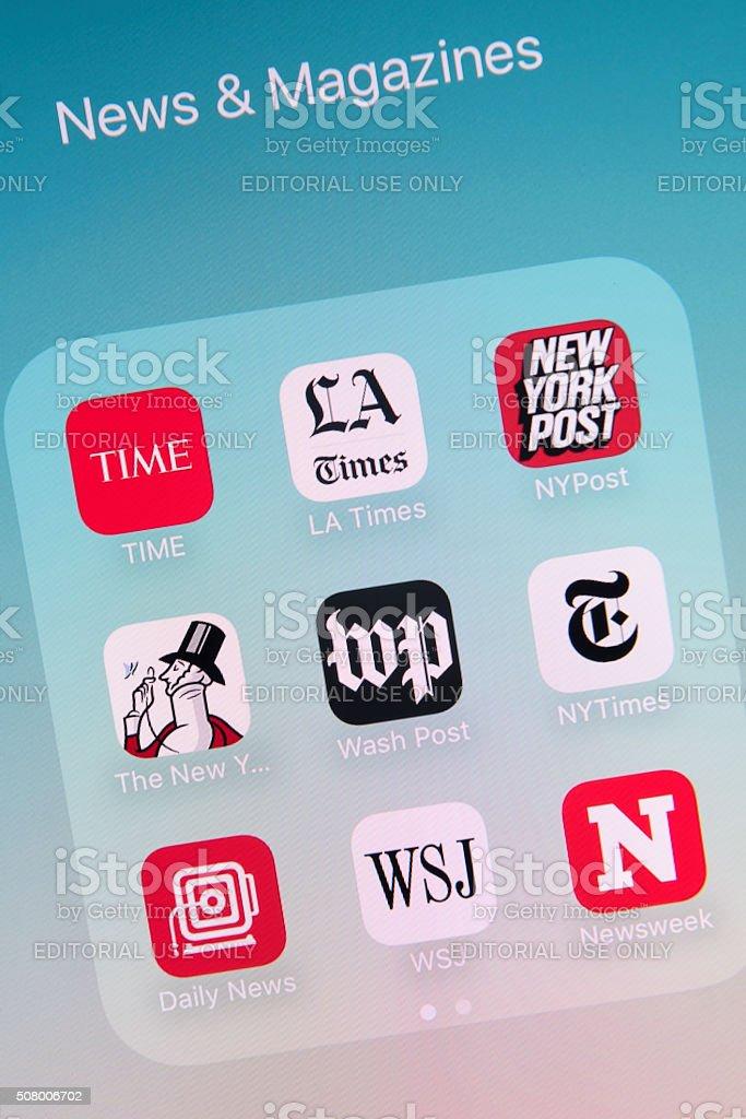 News & Magazines Apps on Apple iPhone 6s Plus Screen stock photo