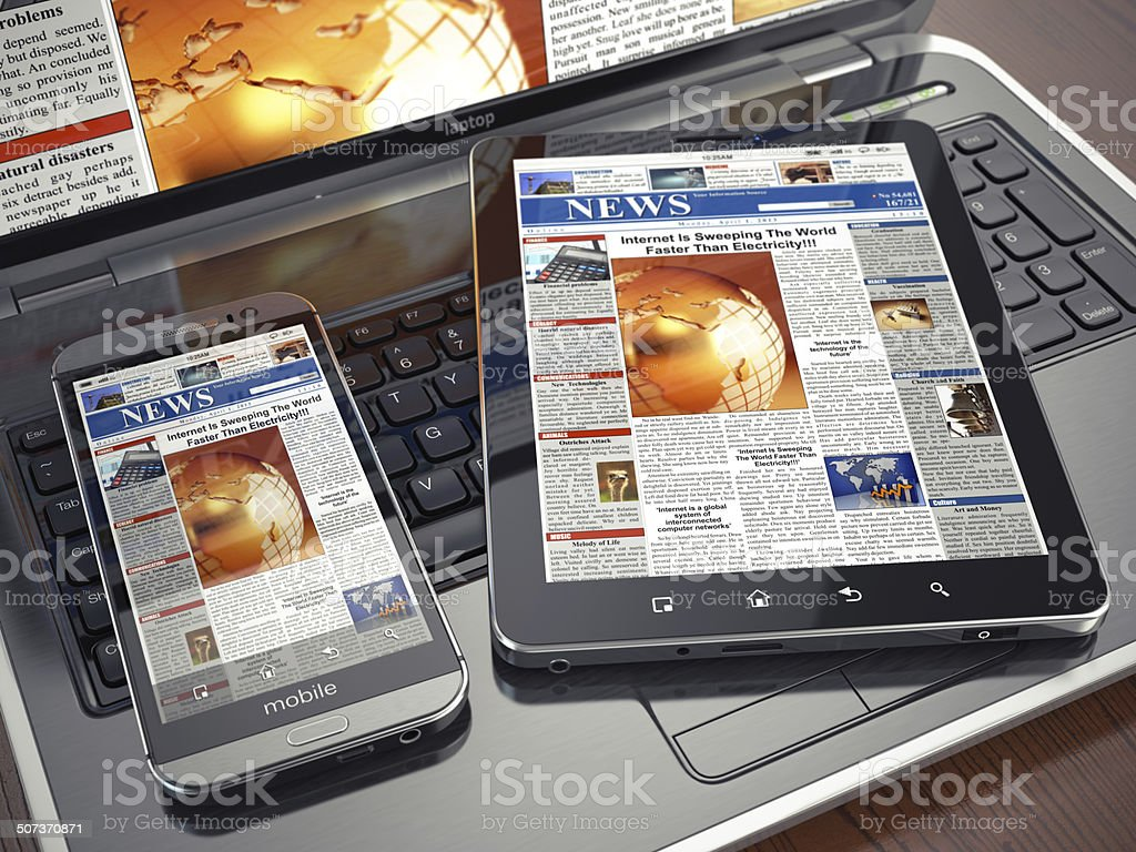 News. Media concept. Laptop, tablet pc and smartphone stock photo