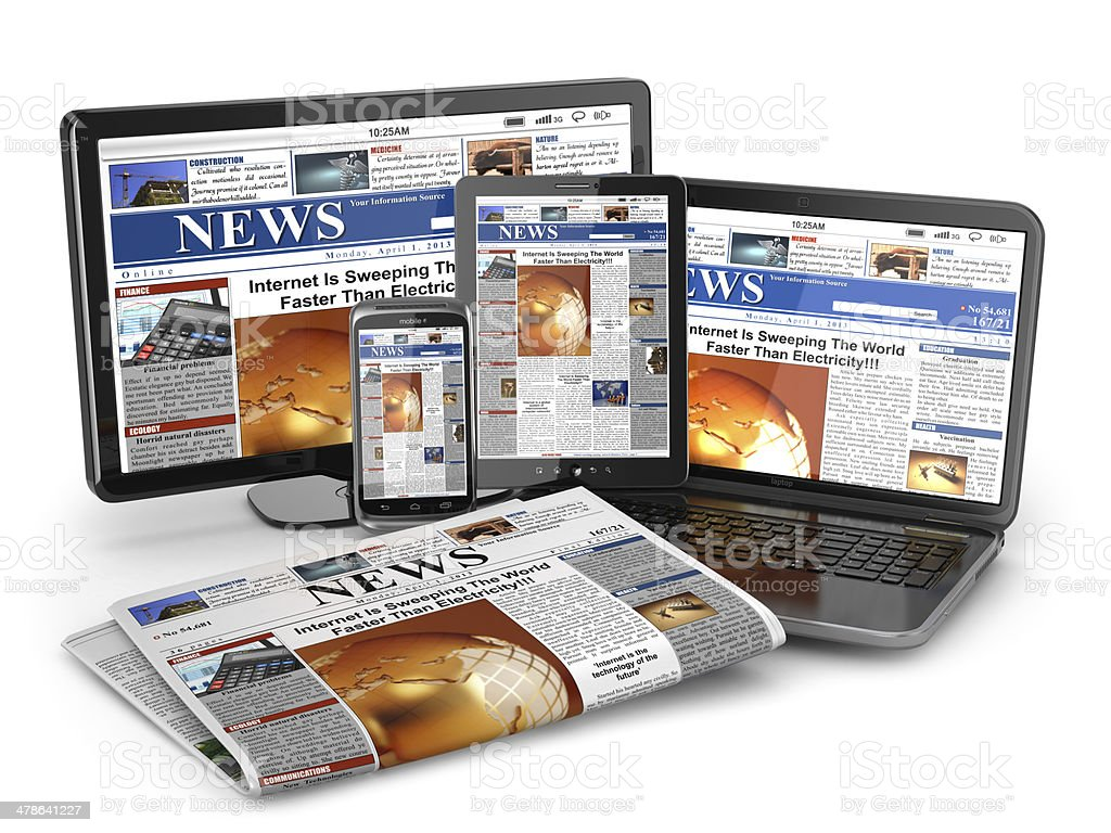News. Media concept. Laptop, tablet pc, phone and newspaper. stock photo
