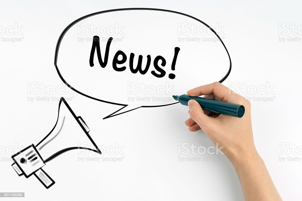 News! Megaphone and text on a white background stock photo