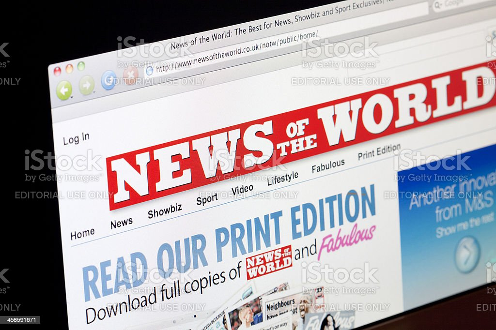 News Of The World Online Edition stock photo