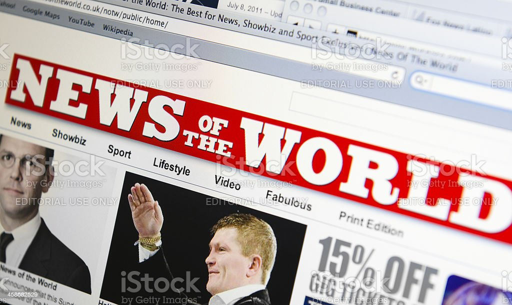 News of the world online newspaper stock photo