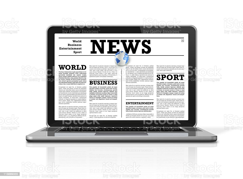 News on a laptop computer isolated royalty-free stock photo
