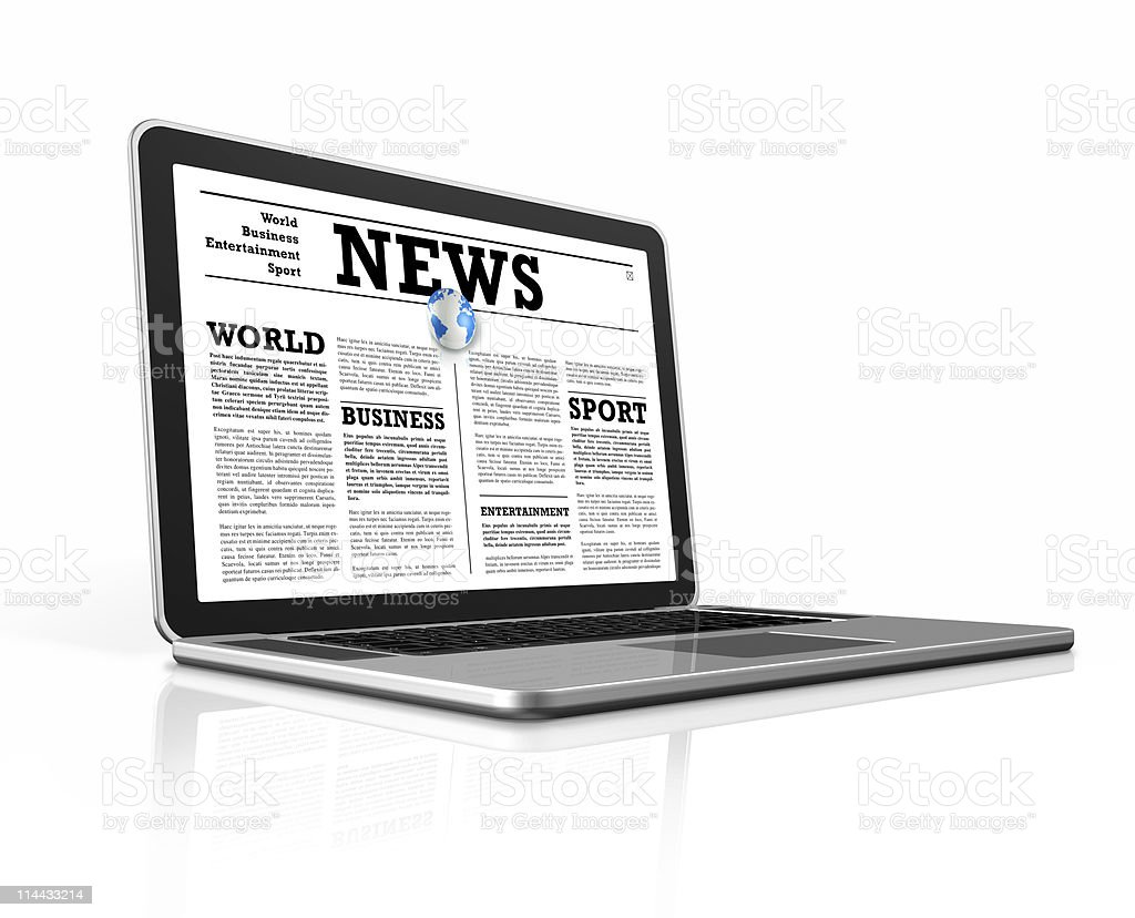 News on a laptop computer isolated with clipping path royalty-free stock photo