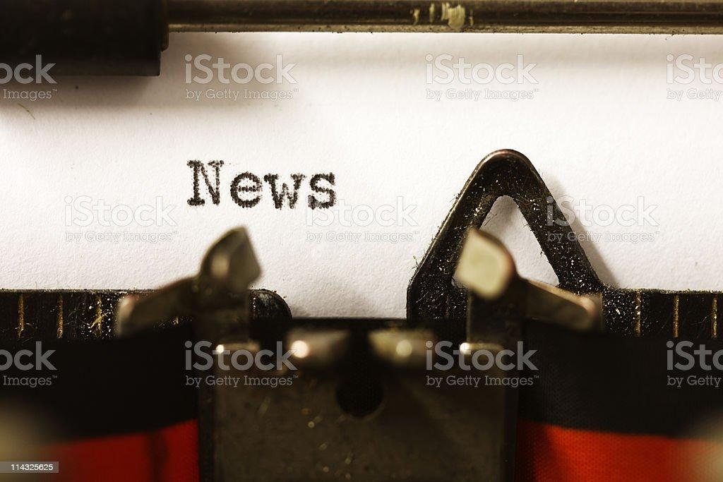 News on a typewriter royalty-free stock photo