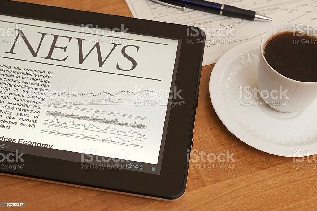 News on digital tablet. royalty-free stock photo