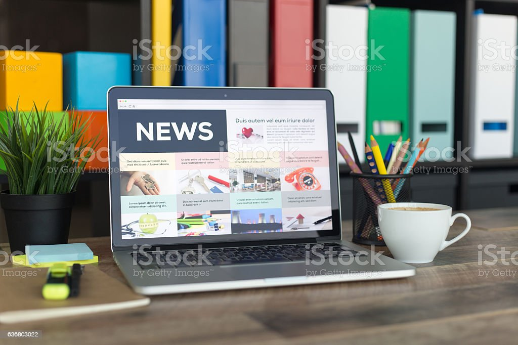 News on Laptop Screen stock photo