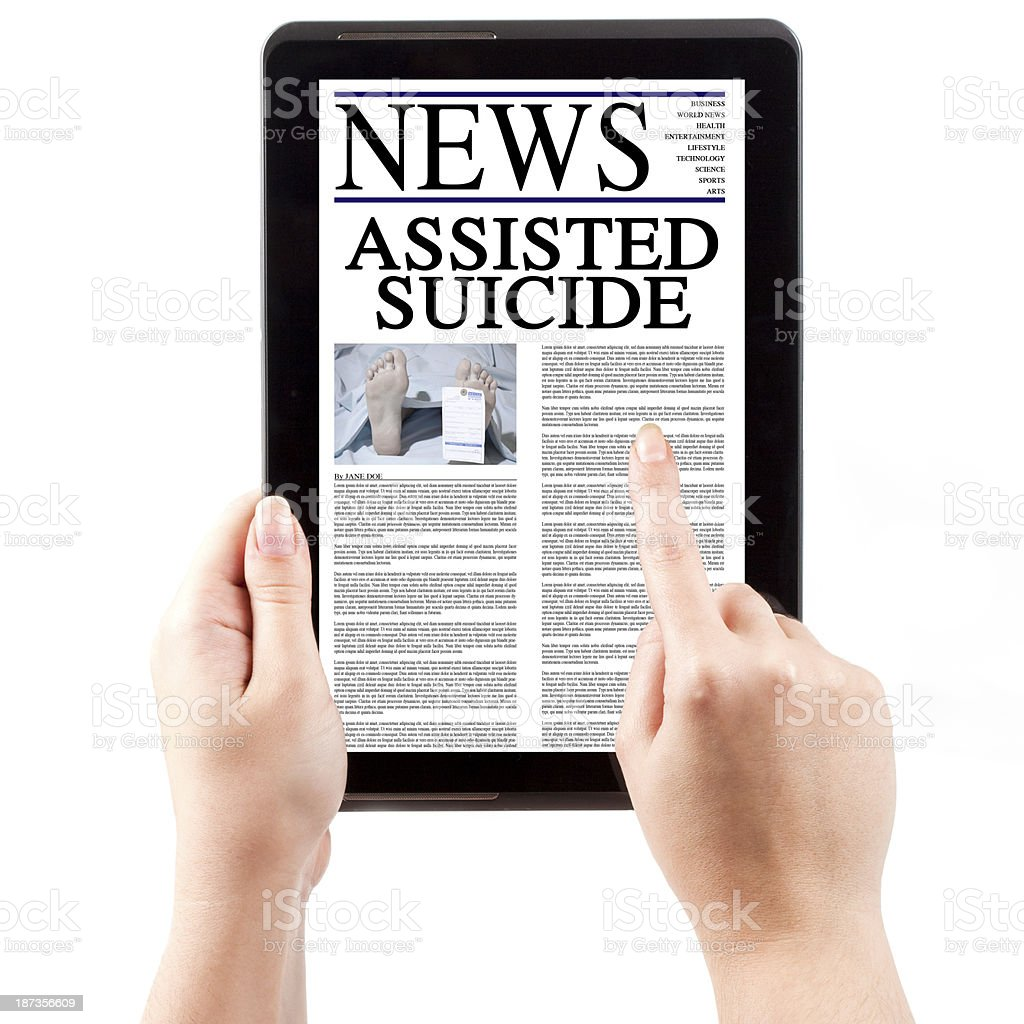 News on Tablet Computer - Euthanasia stock photo