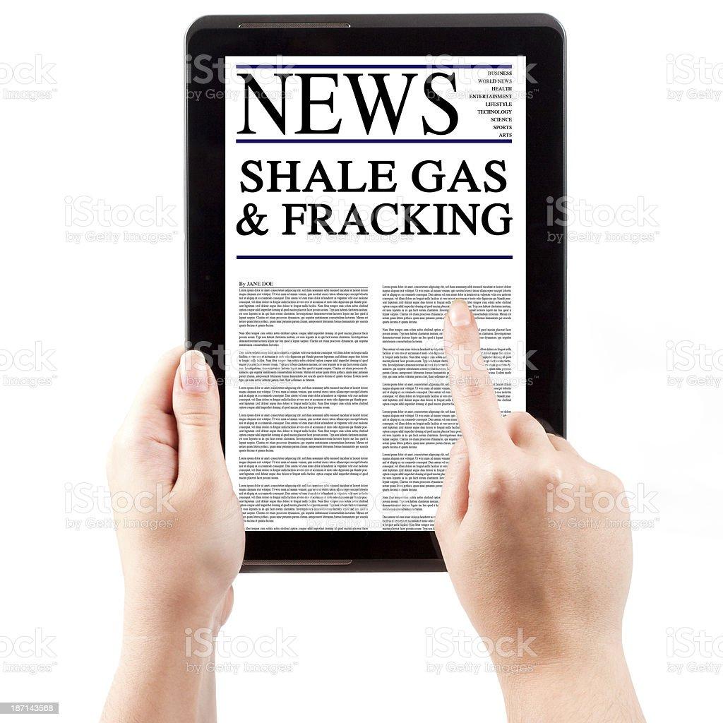 News on Tablet Computer - Fracking stock photo