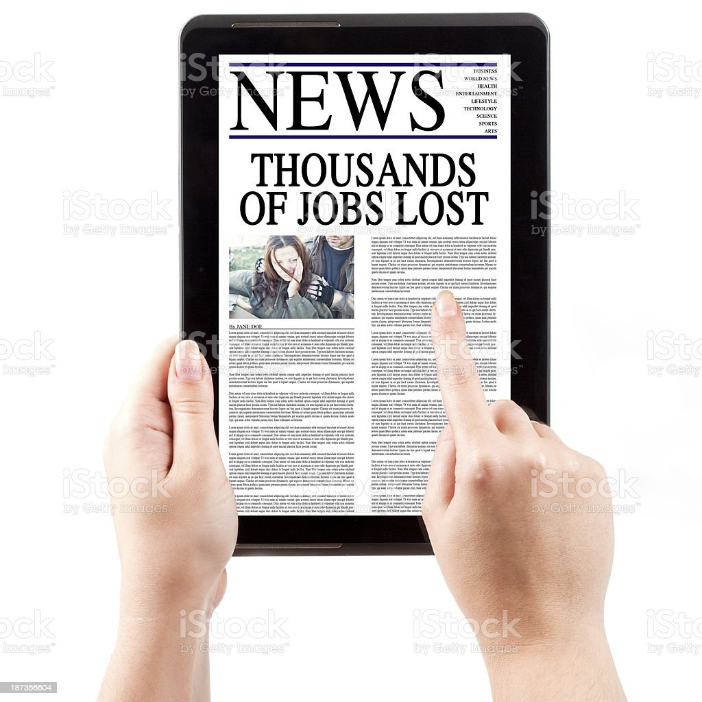 News on Tablet Computer - Lost Jobs royalty-free stock photo