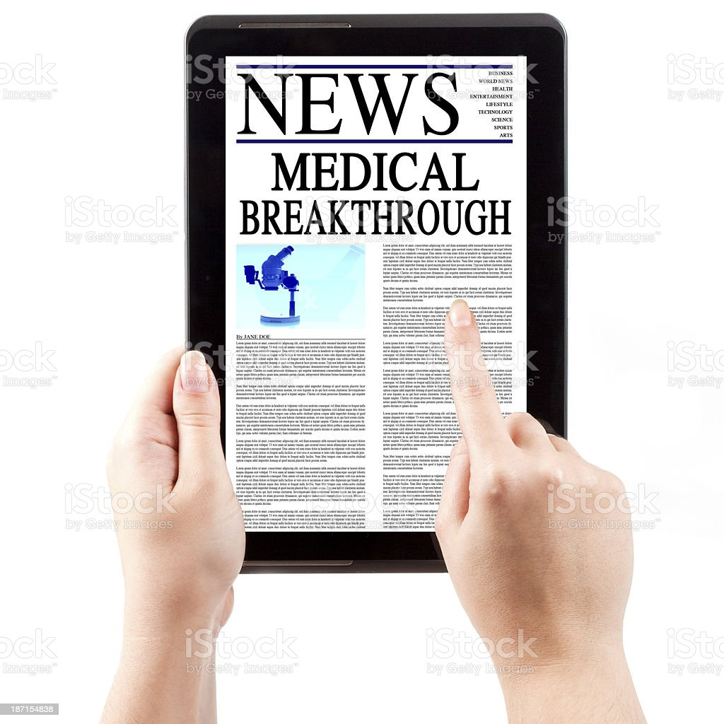 News on Tablet Computer - Medical Breakthrough royalty-free stock photo