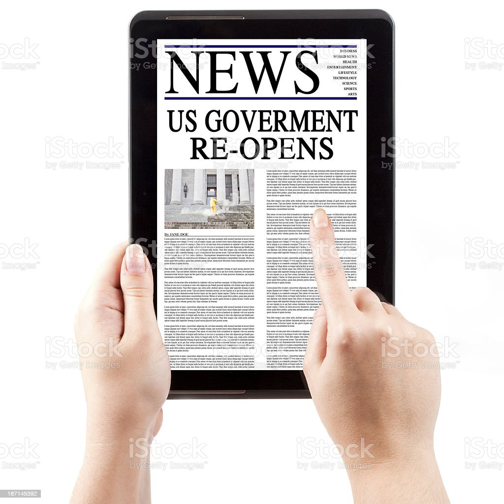 News on Tablet Computer - US Government Re-Opens stock photo