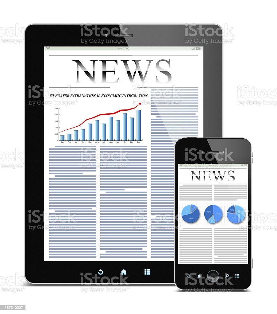 News on Tablet PC and Smart Phone (Clipping path!) isolated royalty-free stock photo