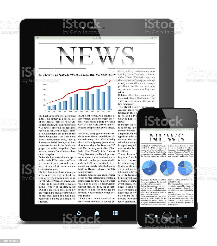 News on Tablet PC and Smart Phone (Clipping path!) stock photo