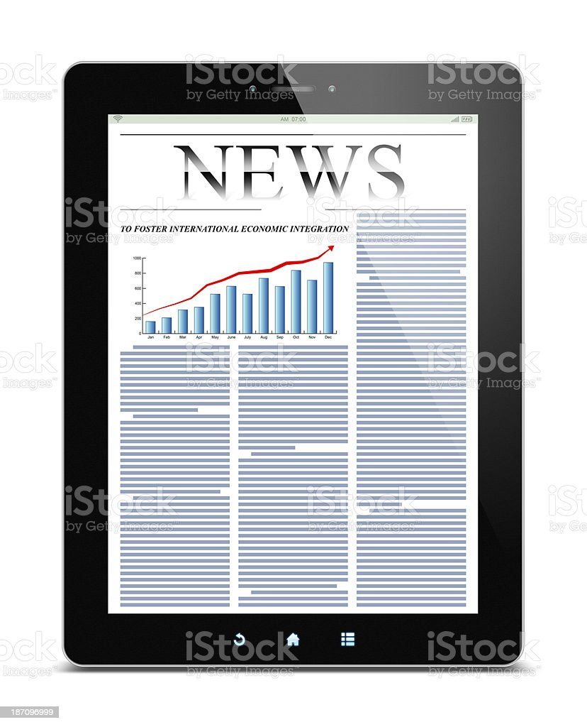 News on Tablet PC (Clipping path!) isolated on white background royalty-free stock photo