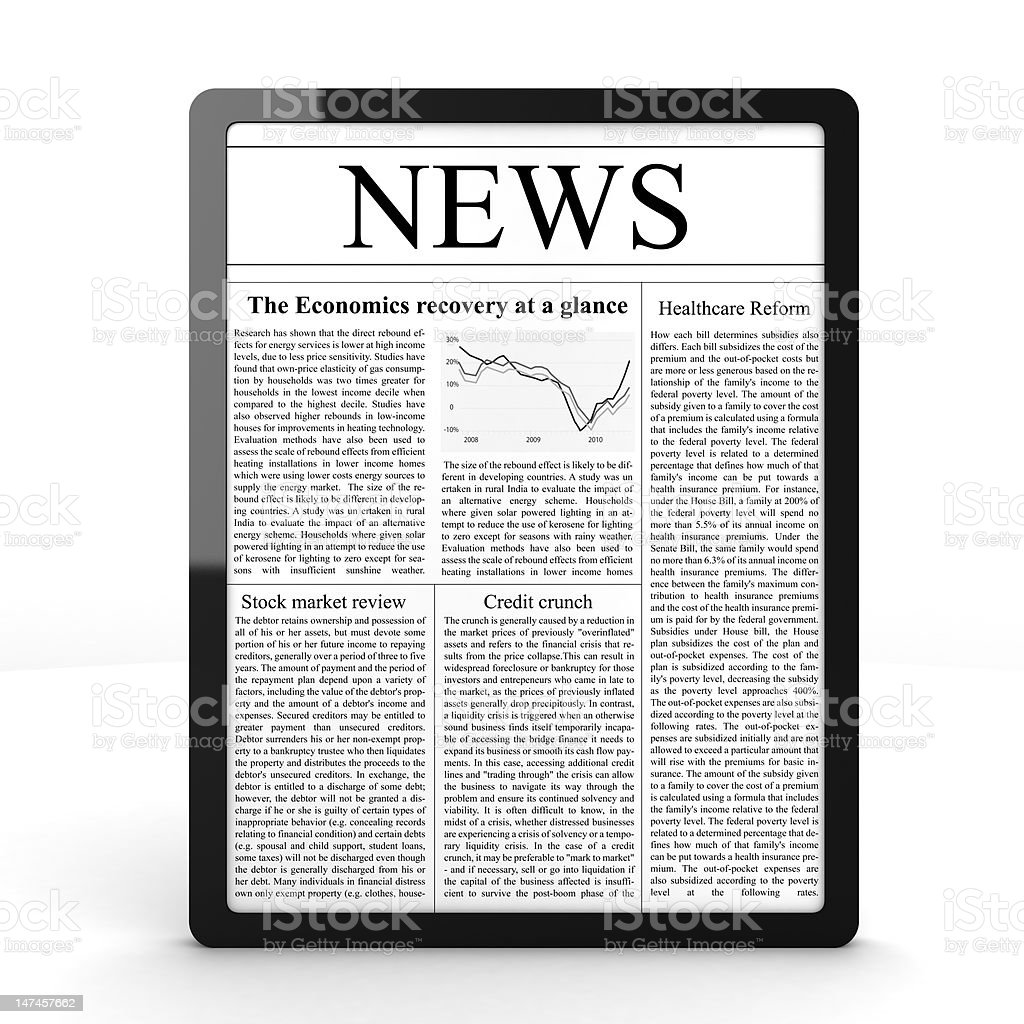 News on Tablet PC stock photo