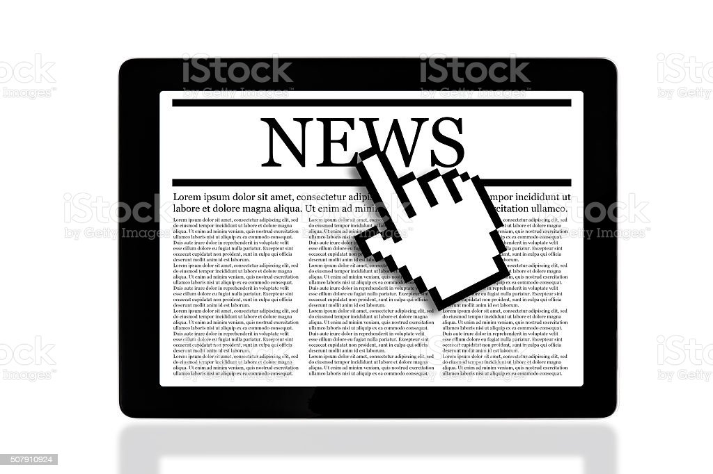 News on tablet pc. stock photo
