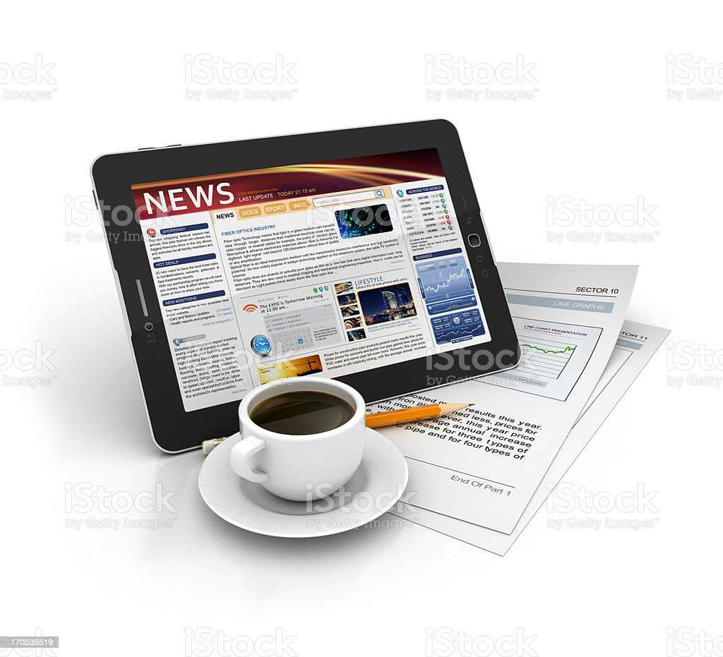 news on tablet with coffee royalty-free stock photo