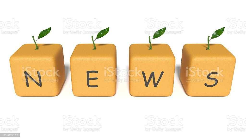 News: orange cubes on a white background stock photo