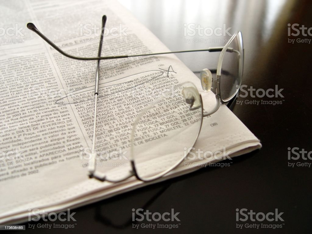 News Paper & Glasses royalty-free stock photo