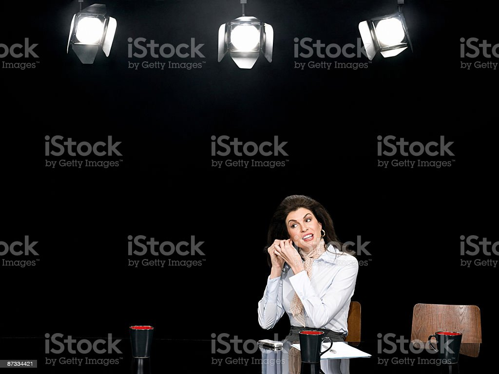 News presenter getting ready stock photo