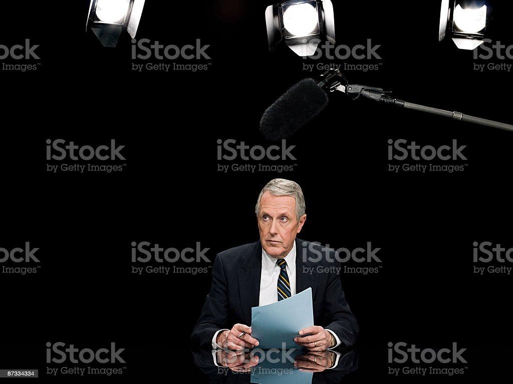 News presenter stock photo
