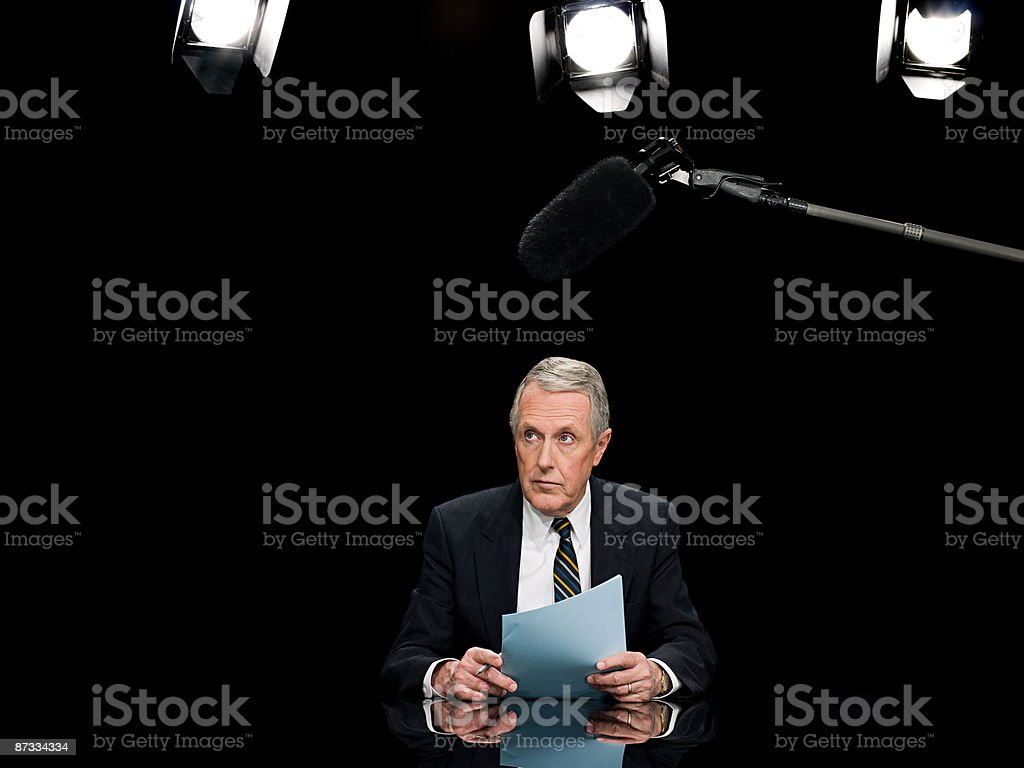 News presenter stock photo