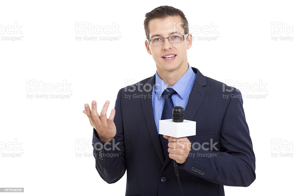 news reporter in live broadcasting stock photo