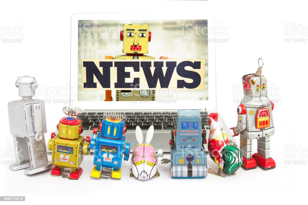 news robots stock photo