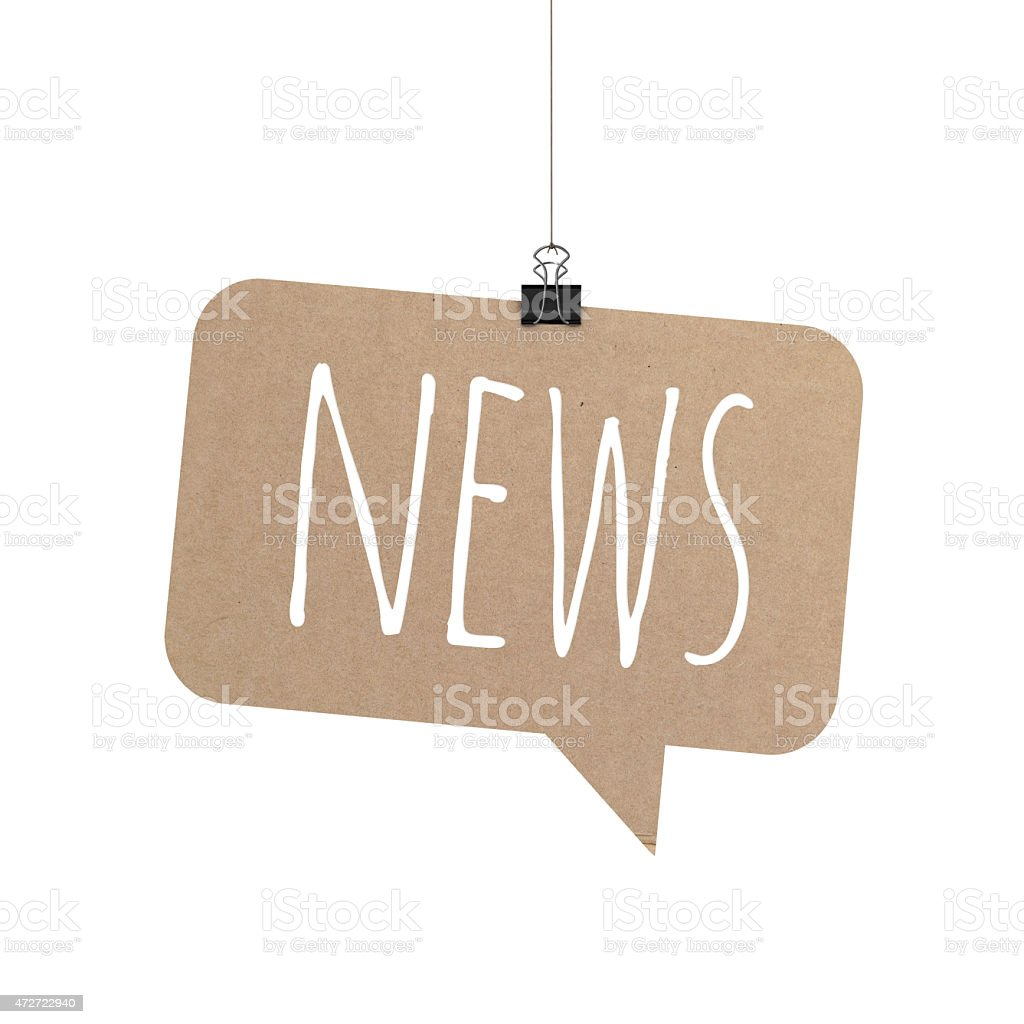 News speech bubble hanging on a string stock photo