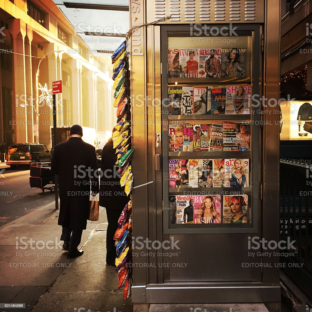 News Stand in Financial District in NYC stock photo